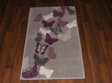 Modern Aprox 4x2 60cmx110cm Novelty Butterflys New Rugs Woven Backed Cream/Grey